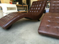 PAIR OF BROWN LOUNGER CHAISE CHAIRS - 200 FOR BOTH