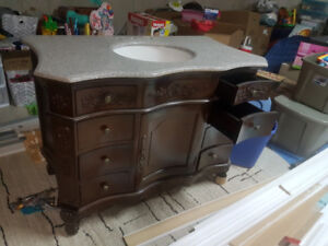vanity free stand with marble top