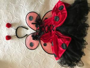 Size 6 Girls Ladybug Tutu Costume, Antenna, Wings