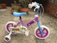 "Nearly New Girls 'Anna' 12"" bike with stabilisers."