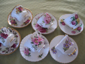 6 Bone China T cups/Saucers incl.Manitoba Crocus