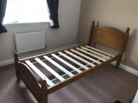 Solid antique pine single bed (& mattress if required)