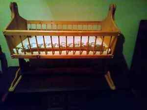 Hand made wooden bassinet
