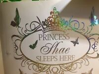 Princess Sleep Here Personalization Name Bedroom Butterflies Decal Wall Sticker