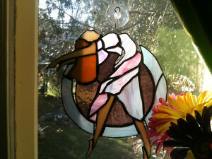 """Stained Glass Ballerina -- Hand Made -- Approx. 8"""" - 10"""""""
