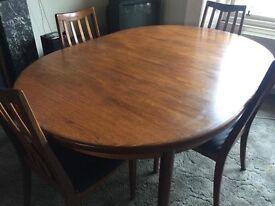 GPlan 1974 teak Fresco Retro dining table With 4 chairs