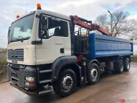 2007 57 MAN TG-A 32.360 8x4 steel tipper Epsilon E120l crane and grab