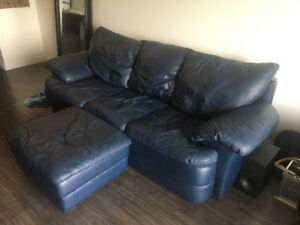 Navy Leather Couch and Loveseat