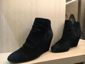 7c28dd9c3eb0 Black suede Via Spiga Wedge booties- Extremely comfortable!