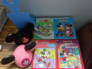 Mickey and Minnie Mouse ears, book holder and activity books