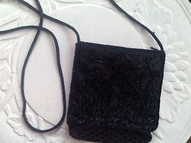 Wallis black satin beaded evening bag