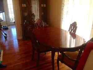 Dining room table and hutch.