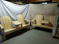 Wooden Double Chair an Table one piece
