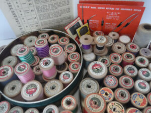 VINTAGE SEWING THREAD ON WOOD SPOOLS  J &P COATS CLARK'S ANCHOR