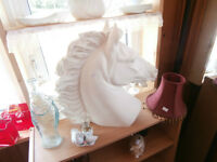 Huge White Marble Horsehead at KeepSakes Antiques