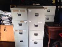 Metal Filing Cabinets, (4 Drawer), Lockable