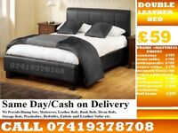 NEW DOUBLE LEATHER BED FRAME IN BLACK AND BROWN WITH MEMOREY FOAM MATTRESS