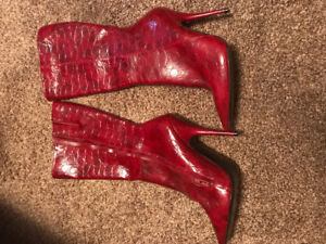 Women's red leather boots bought from Aldo