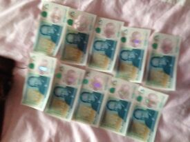 10 New £5 notes AA18!