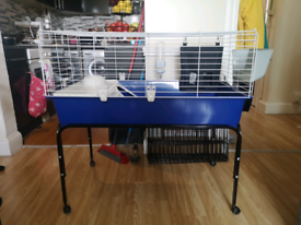 Small animal cage with stand and accessories