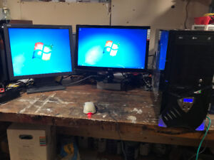 2 PC's, 2 Monitors + Windows 7 and Office 2016 Activated