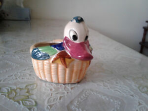 Vintage hand painted Donald Duck porcelain planter