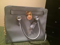 Michael Kors Saffiano Leather Hamilton Tote in Pale Blue