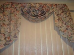 Floral Window Drapes With Valances For Sale