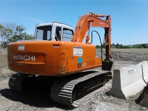 EX HITACHI 100 EXCAVATOR AND EAGER BEAVER FLOAT