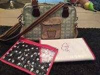 Pink lining yummy mummy changing bag green bows