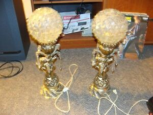 vintage brass and glass cherub lamps