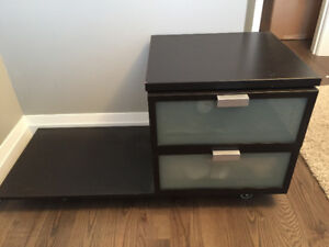 2 Ikea nightstands - brown with opaque glass