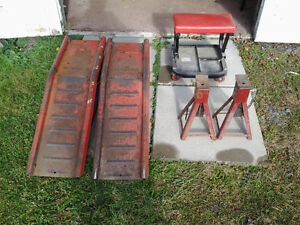 Truck ramps jack stands and mechanic's chair