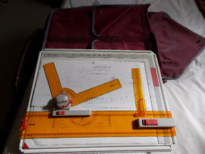 "12"" X 16"" drafting table with pens and templates"