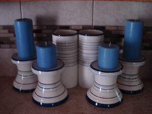 Matching Candle Holders & Vases