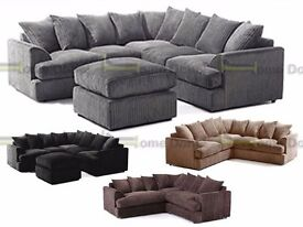 **14-DAY MONEY BACK GUARANTEE!** Jamba Fabric Corner Suite or 3 and 2 Set - SAME DAY DELIVERY!