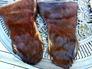 INUIT beaver GAUNTLETS mitts Northern Fishing HUNTER early 1900s