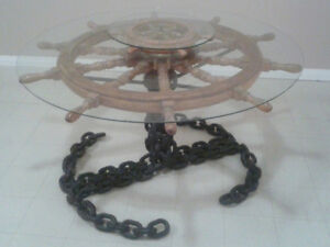 Nautical chain glass two tier table