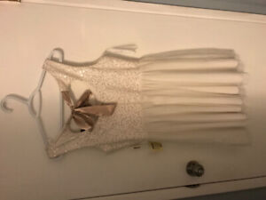 White and gold formal cocktail dress- size 8-never been worn