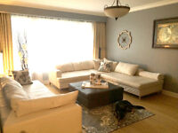 EQ3 White Leather Sectional and Sofa