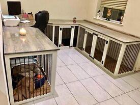 Luxury bespoke solid wood dog / pet beds crates cabinet furniture