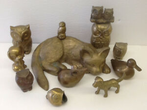 Owls, Cat ,Mouse, Dogs, Duck, Fish Vintage Brass Figures ( 12 )
