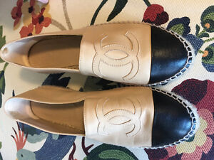 Chanel Beige and Black Leather Espradilles Size 41