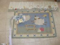 Crib mobile, matt and curtain topper