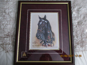 """MUSICAL RIDE HORSE"" BURGUNDY FRAMED PRINT SIGNED BY BILL MCMILL"