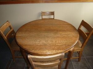 Antique Wood Table with 4 Chairs