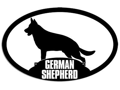3x5 inch Oval GERMAN SHEPHERD Silhouette Sticker -decal dog breed love k9 police