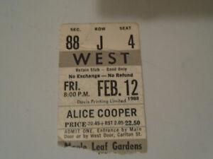 ALICE COOPER CONCERT TICKET STUB 1988 TORONTO MAPLE LEAF GARDENS
