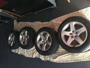 "**SOLD PPU**  17"" Alloy rims with studded winter tires for sale"