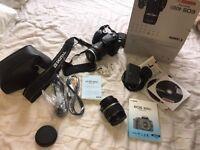 Canon EOS 400D 18-55mm lens plus additional 28-80mm with UV protector cap. Original box. Digital SLR